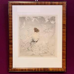 1920s Lady and the Birds Print by Louis Icart