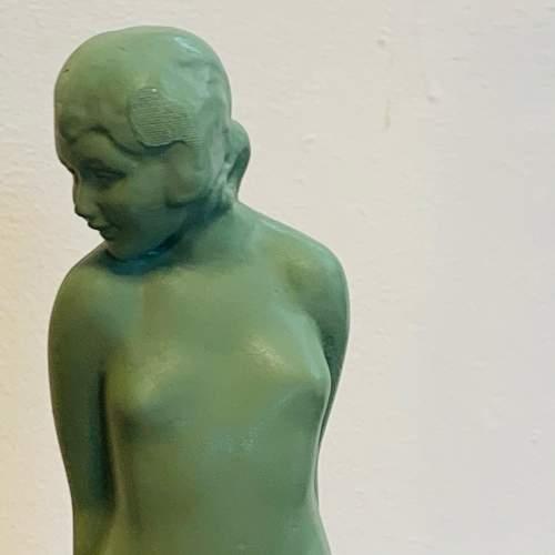 1930s Art Deco Spelter Figure Lamp titled Eve image-2