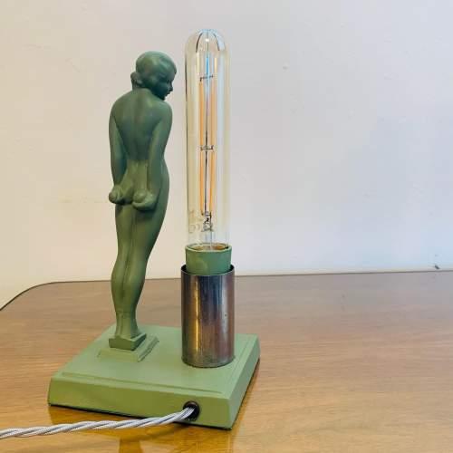 1930s Art Deco Spelter Figure Lamp titled Eve image-3
