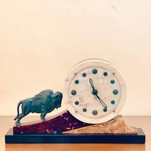 1930s Art Deco Marble Clock with Spelter Bison