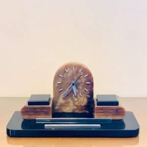 1930s French Art Deco Marble Desk Clock
