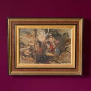 Sir Frank Brangwyn Eastern Figures Around the Campfire Oil on Canvas