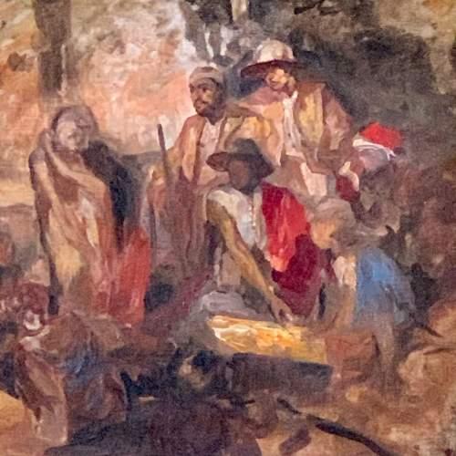 Sir Frank Brangwyn Eastern Figures Around the Campfire Oil on Canvas image-2