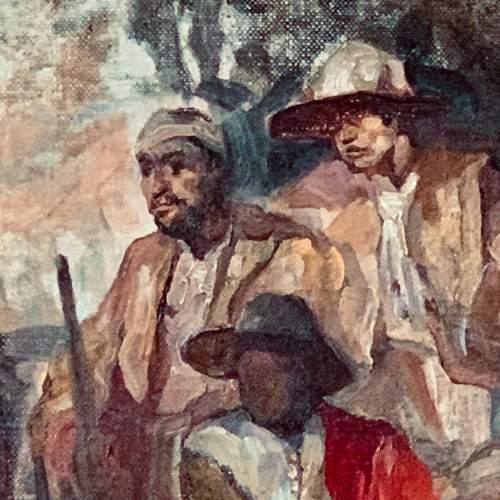 Sir Frank Brangwyn Eastern Figures Around the Campfire Oil on Canvas image-4