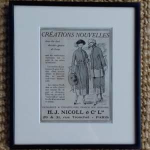 Framed Original 1929 Newspaper Advert for H J Nicoll Clothing