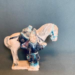 Ming Dynasty Terracotta Horse and Groom Figure