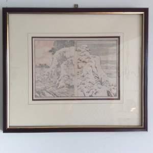 Japanese Hokusai Wood Block Prints - Mountains and Streams