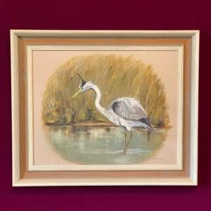Donald Southgate Oil on Board Painting of a Heron
