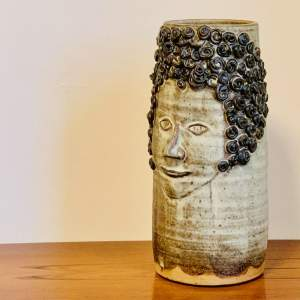 1970s Shelf Pottery Stoneware Face Vase