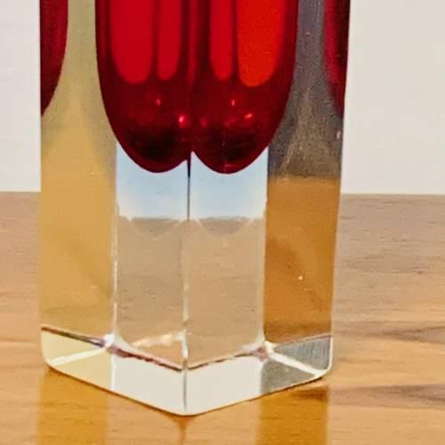 1960s Sommerso Geometric Murano Glass Vase image-3