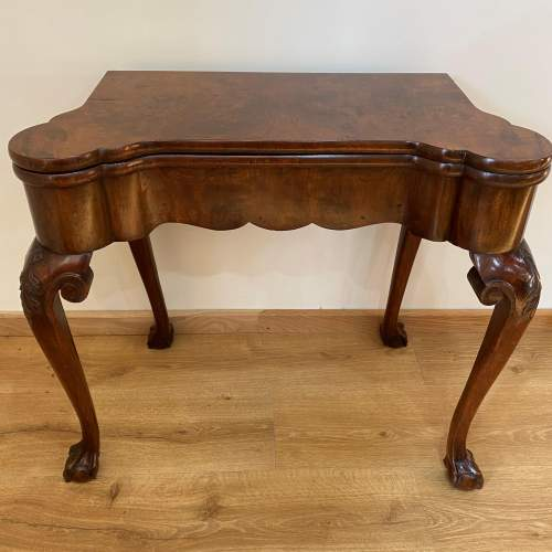 Walnut Card Table with Chinoiserie Detailing - Late Victorian image-1