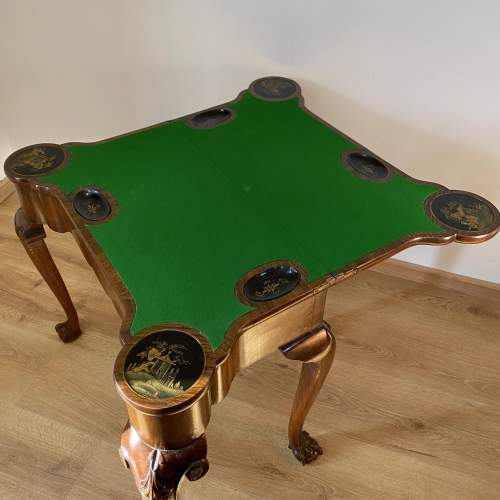 Walnut Card Table with Chinoiserie Detailing - Late Victorian image-2