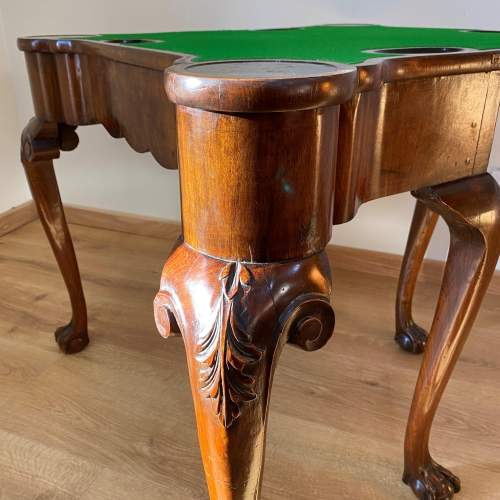 Walnut Card Table with Chinoiserie Detailing - Late Victorian image-4