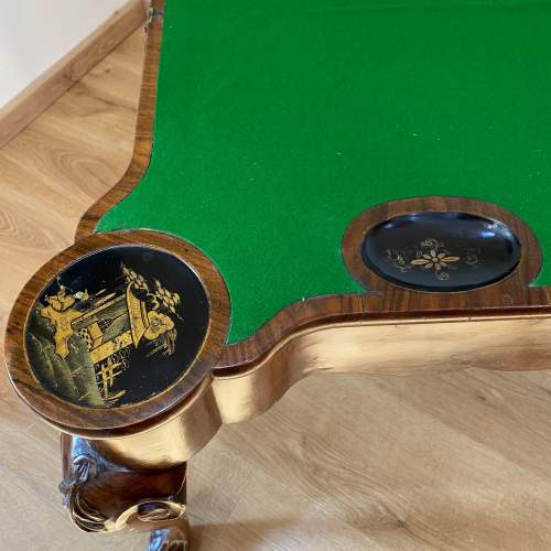 Walnut Card Table with Chinoiserie Detailing - Late Victorian image-6