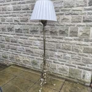 Victorian Brass Extending Standard Lamp with Pad Feet