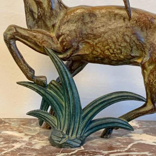 Art Deco Spelter Deer on a Marble Base image-4