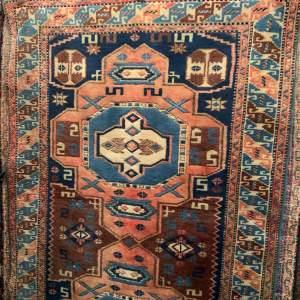 Stunning Hand Knotted Turkish Kazak Rug In Geometric Design