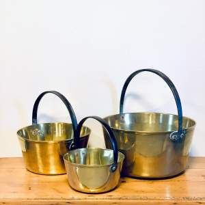 Set of Three Victorian Brass and Iron Pans