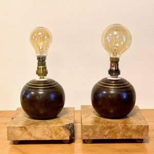 Pair of 1950s Bowling Ball Lamps