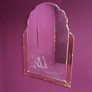Art Deco 1930s Large Peach Panel Wall Mirror