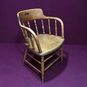 Ash and Elm Turned Spindle Back Desk Chair Circa 1900
