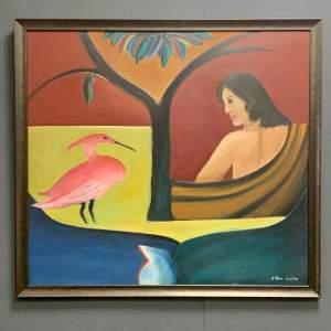 Ellen Bate Surrealist Oil on Board Painting of Woman with Bird