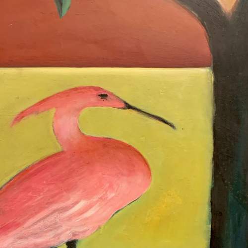Ellen Bate Surrealist Oil on Board Painting of Woman with Bird image-3