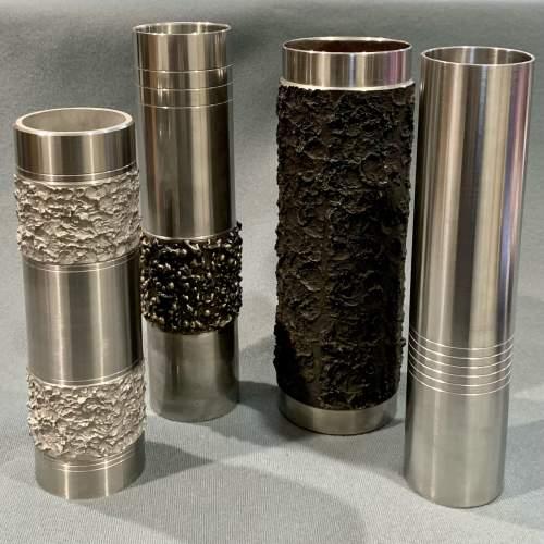 Set of Four Brutalist Metal Vases image-1