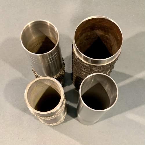 Set of Four Brutalist Metal Vases image-2