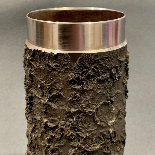 Set of Four Brutalist Metal Vases image-4