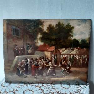 18th Century Flemish School Painting - Signed - The Village Party