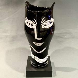 Rare Large Kosta Boda Open Minds Black Glass Vase