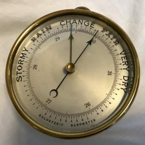 Brass Cased Holosteric Barometer with Silvered Dial Circa 1890