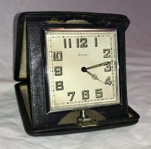 1920s 8 Day Travel Clock in a Black Leather Case