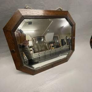 1940s Oak Framed Mirror with Bevelled Glass