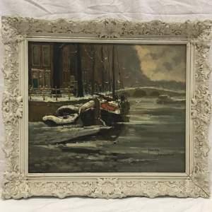 J Van Dijk Stunning Old 20th Century Oil Painting of Amsterdam