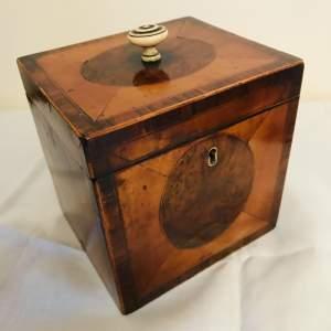 Fine Original 18th Century Satinwood and Walnut Panelled Tea Caddy