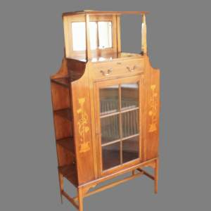An Art Nouveau Satinwood Crossbanded Mahogany Bookcase