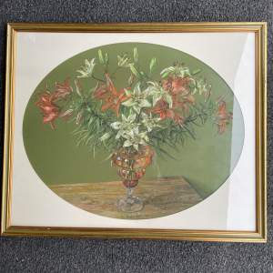 Lilies in an Amber Vase Painting  Shirly Stopford - Taylor 1989