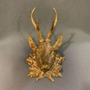 19th Century Gilt Bronze Stag Inkwell