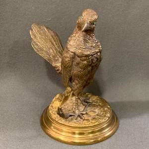 19th Century Gilt Bronze Roadrunner Inkwell