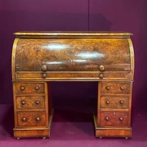 19th Century Walnut Cylinder Top Desk