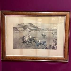 Early 20th Century Oak Framed Print of The Kings Derby