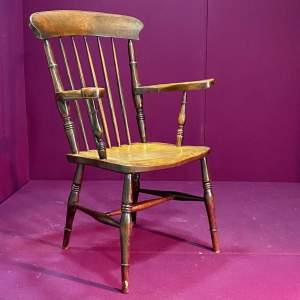 19th Century Ash and Elm Grandfather Armchair