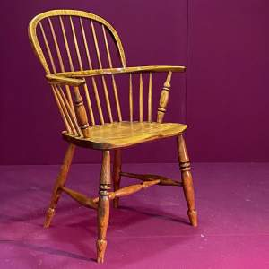 19th Century Ash and Elm Spindle Back Windsor Chair