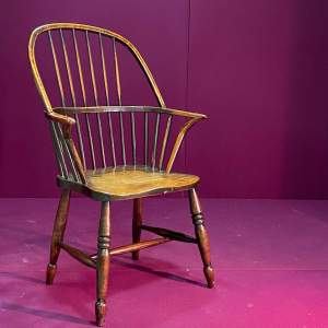Early 19th Century Spindle Back Ash and Elm Windsor Chair