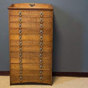 Arts and Crafts Oak Twelve Drawer Collectors Cabinet