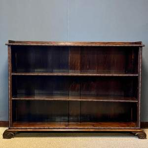 Regency Mahogany Freestanding Open Bookcase with Adjustable Shelves