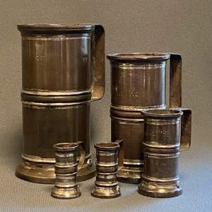 19th Century Set Of Five French Tin Measures