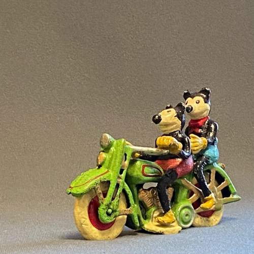 Vintage American Mickey and Minnie Mouse on a Motorcycle image-1
